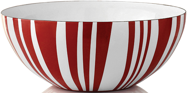 Stripes bowl designed by Grete Prytz Kittelsen, c. 1950–1960, as part of the Stripes collection made in collaboration with Cathrineholm enamel works.  Courtesy of Cathrineholm of Norway
