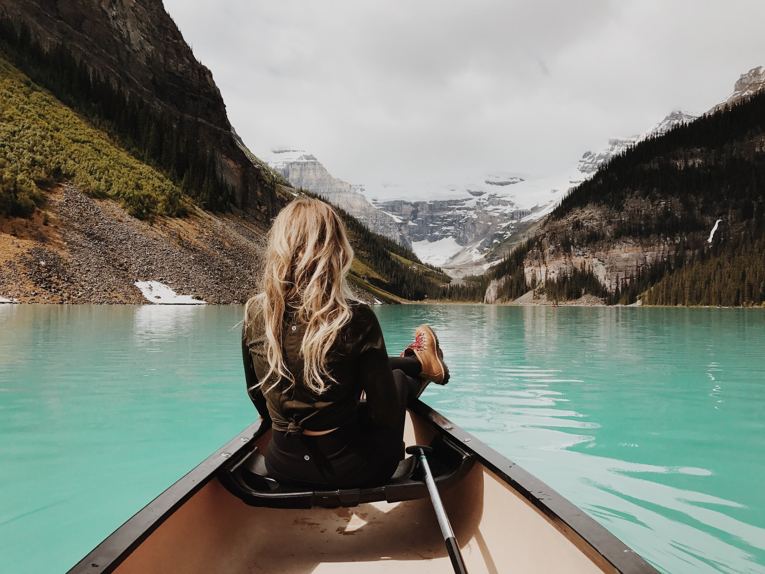 The next day we headed into Banff which turned out to be our most favorite place. We started the day on another canoe trip on Lake Louise, this time much better at rowing and steering the boat! This water made me thirsty. I have never seen a lake this color in my life. We were almost silent for most of the time in the boat because of how insanely beautiful it was to be sitting in the middle of this. Photo by   Antrom Kury