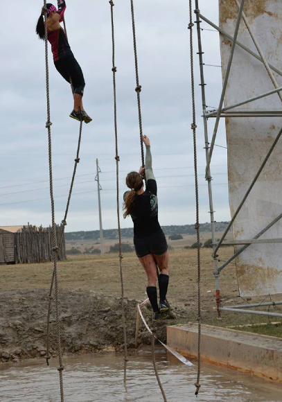 Here are a couple ladies climbing the rope, just give you an idea of the obstacle [o] Jennifer Willis