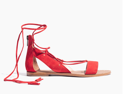 Hannah:  How festive are these red lace-up sandals? I'm obsessed!