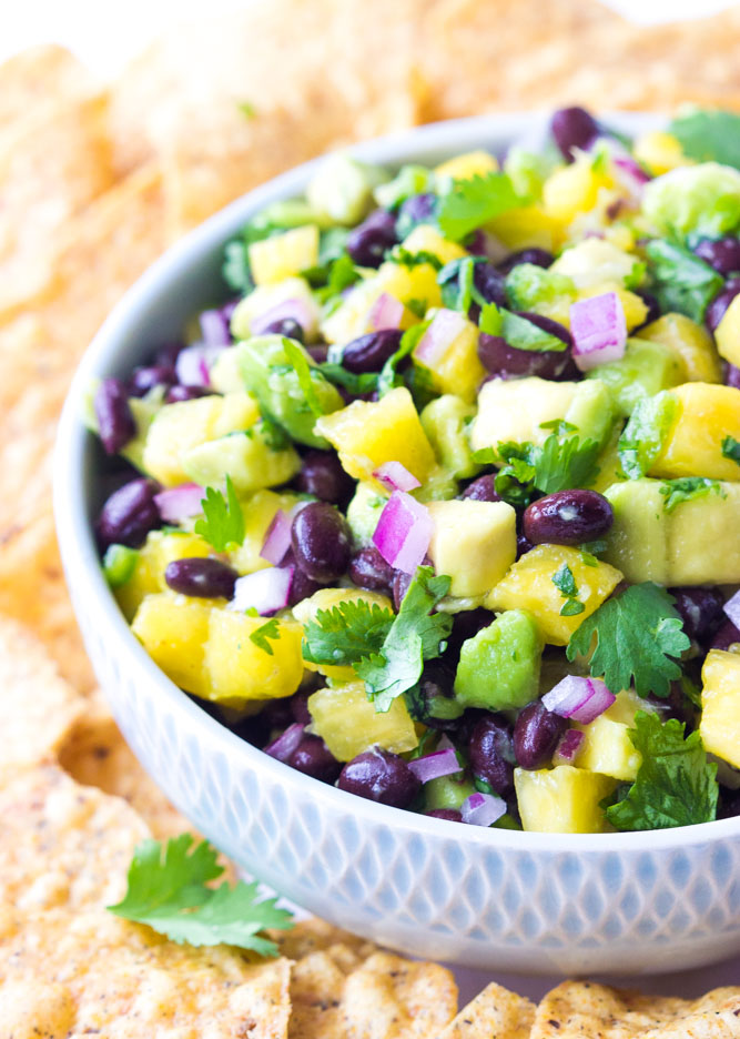 Laurel:  It's summer in the South, so I always lean towards cold salsas or dips to bring along on weekend trips. You can snack on this pineapple and black bean salsa all day!