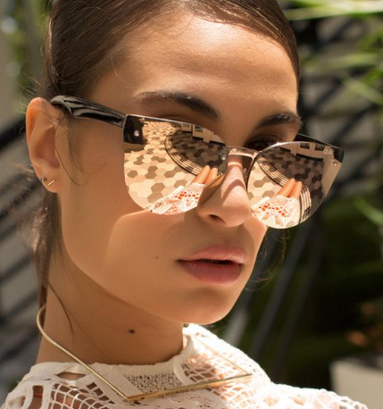 Stephanie:  Reflective sunnies are one of the hottest trends for summer. These are the perfect pair to keep sun out of your eyes and look great while doing it .