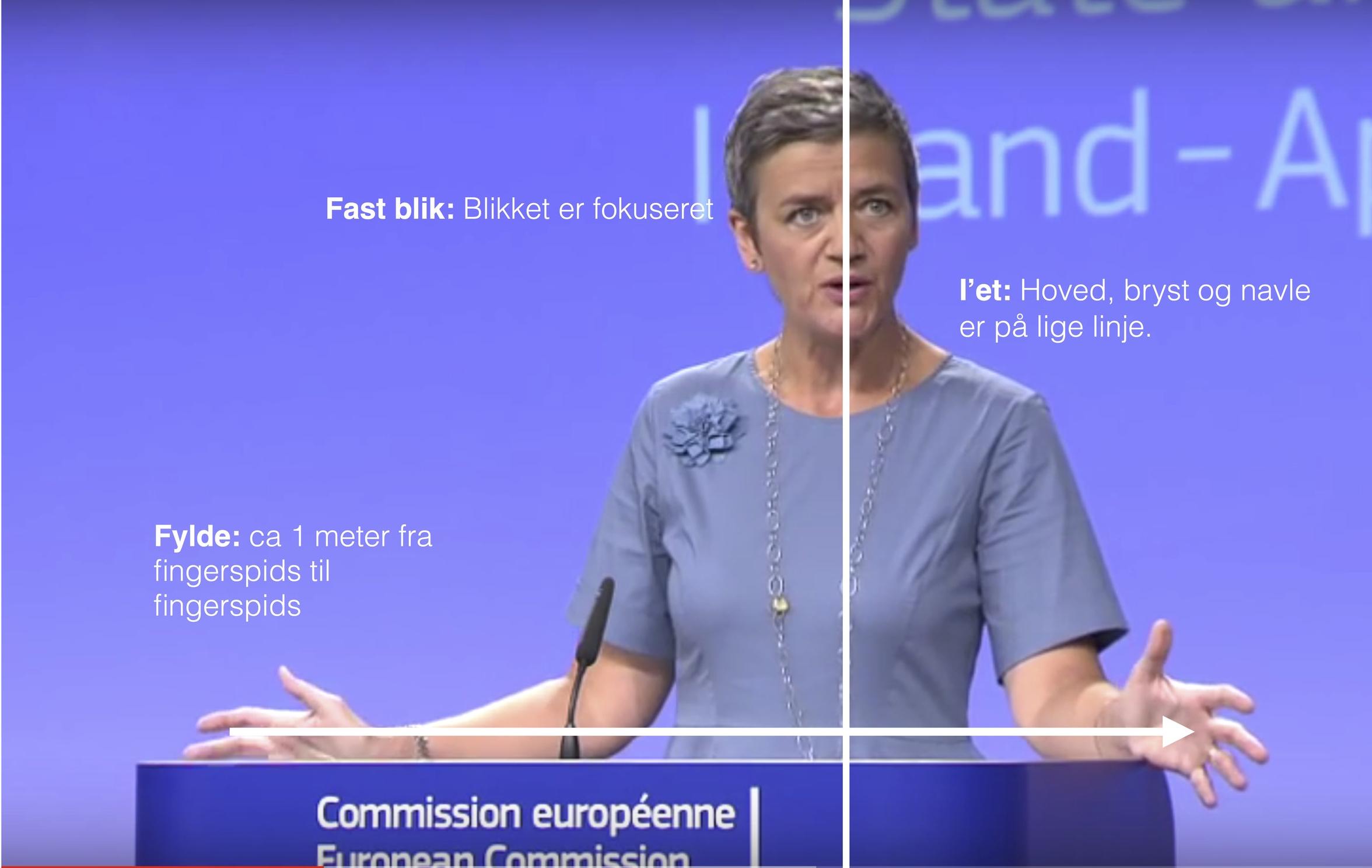 """Margrethe Vestager mestrer de tre magtmarkører; Fast blik, """"i'et"""" og Fylde"""