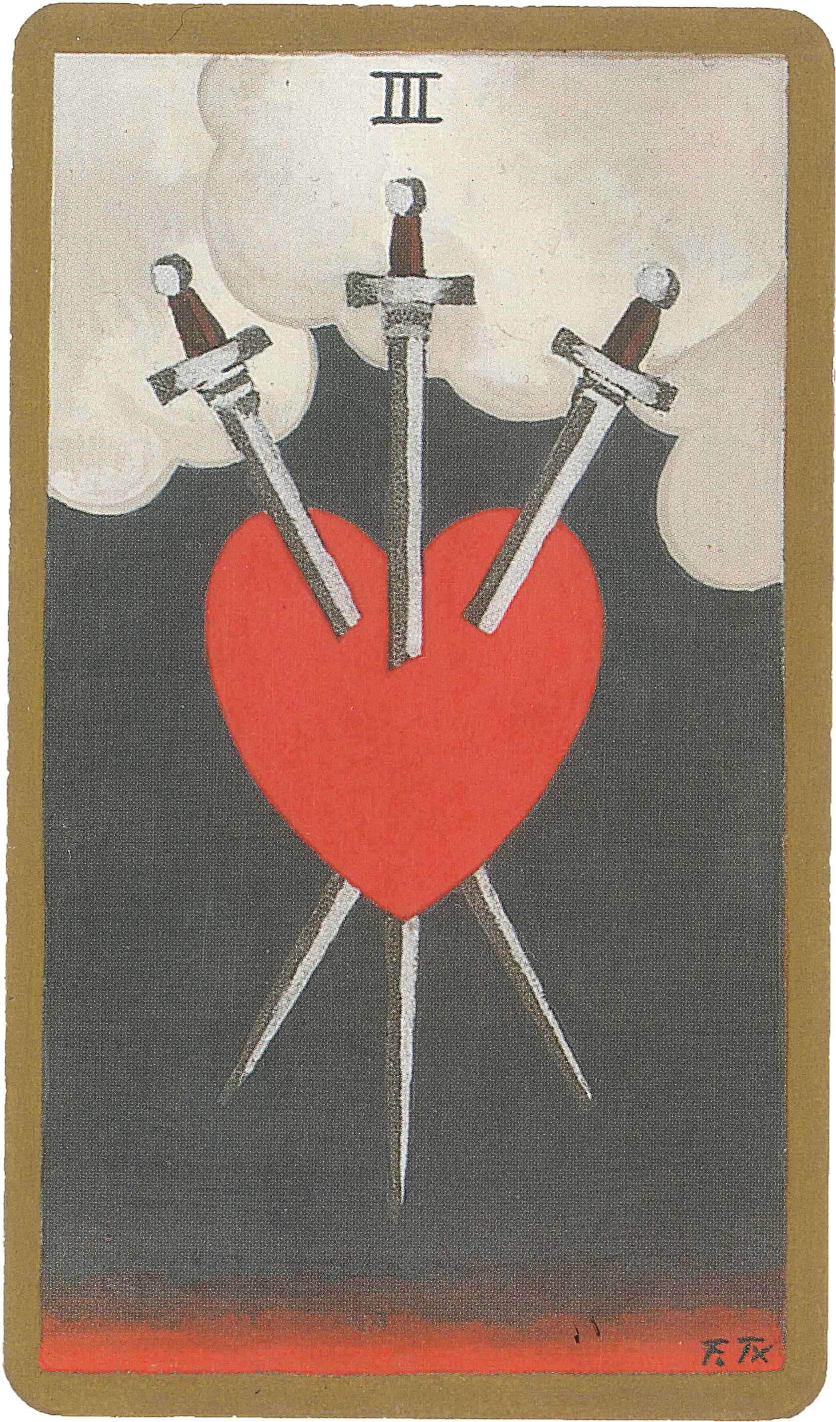 three of swords from the Golden Rider-Waite tarot deck