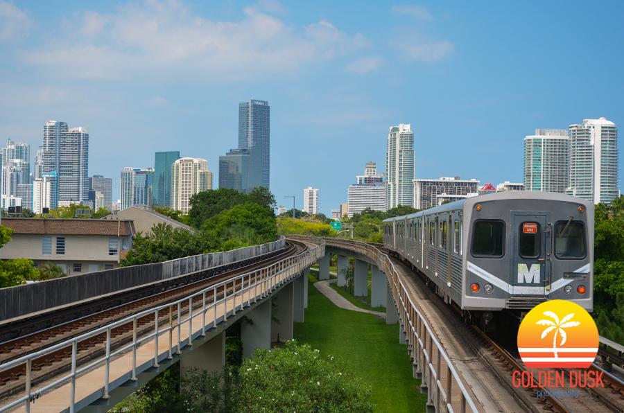 Miami Metrorail Passing Through Brickell