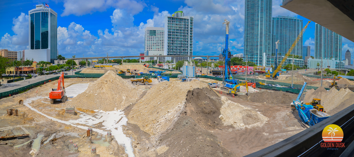 August 2012  - The trees have been removed and workers are in the process of removing all the dirt to create the underground parking.