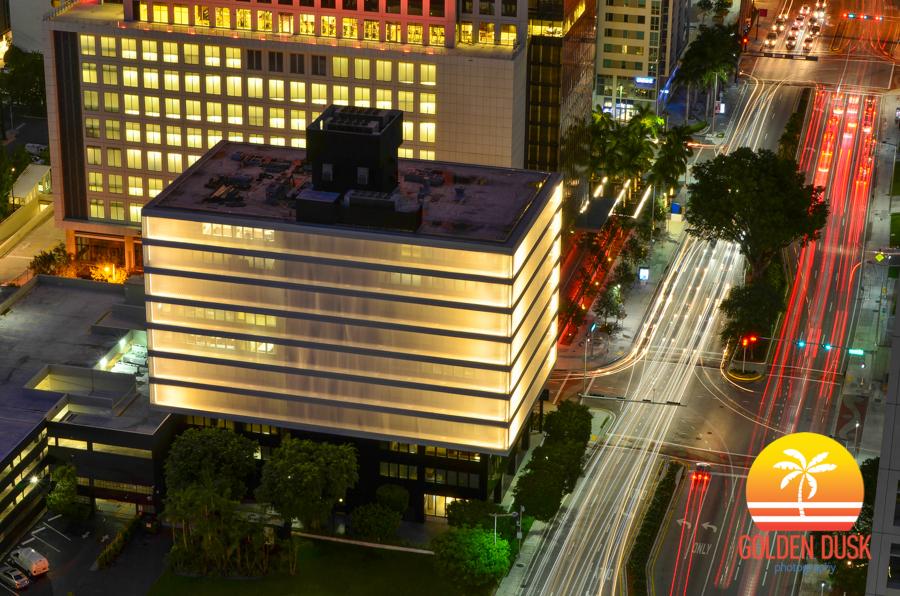 Brickell City Centre Sales Office Lights Up at Night