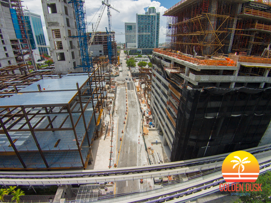 The Construction of Brickell City Centre Between 7th St.