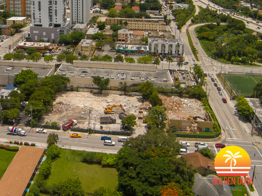 Overview of the demolition to the site