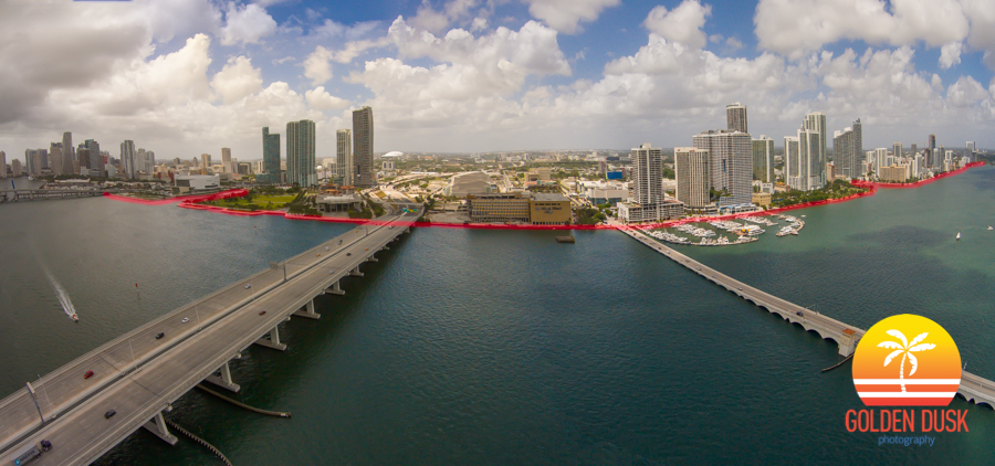 Red Outline Of Where A Bay Walk Would Be Implemented On Miami's Waterfront