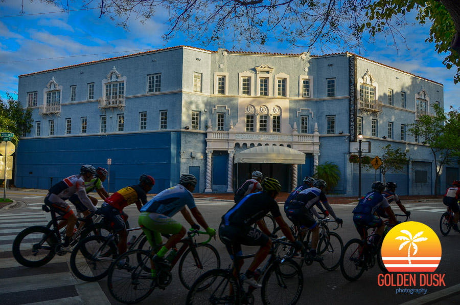 Riders Pass Along the Coconut Grove Playhouse