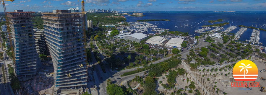 Grove at Grand Bay overlooking Biscayne Bay with Downtown Miami in the distance