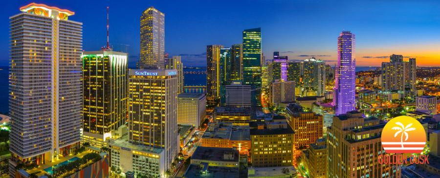 Golden Dusk Miami Night