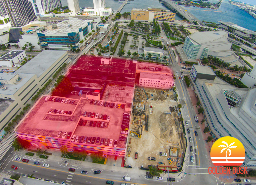 The Auberge Miami site in red