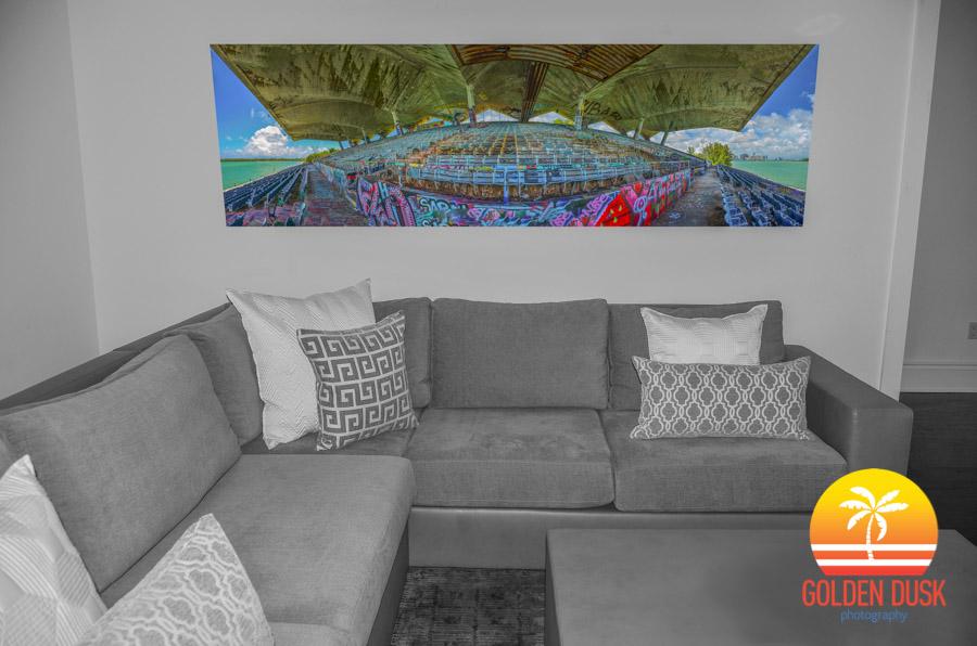 "96"" x 31"" Plexiglass of the Miami Marine Stadium"