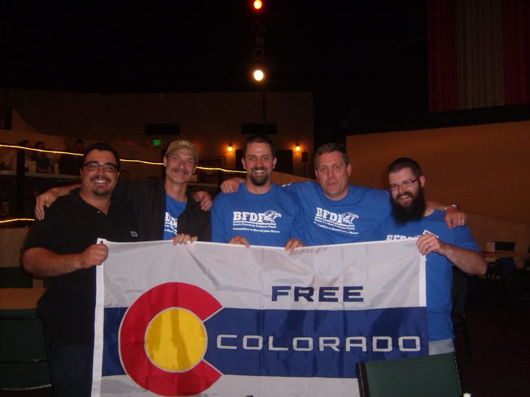 137 Years in the making. - A few minuets after winning Colorado's first recall election in 2013, making Colorado a bit more free, standing with fellow Colorado recall brothers. This modified Colorado flag (the color fields are reversed) is a symbol of citizens standing for Liberty across the nation.