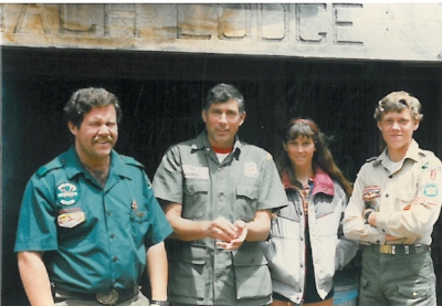 Pictured left to right are my first scoutmaster, Ned White, then Major Cagwin, Ret US Army Marksmanship Unit, his daughter and me at Scout Camp. The influence of others, in particular Major Cagwin, my neighbor and a second father to me, had a profound impact on my childhood. As an adult, I gladly gave back to the program that gave me so much.