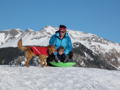 A family sledding trip in the beautiful Colorado mountains.