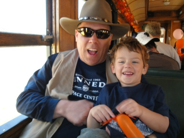 Spending time with my son on the train in Durango, Colorado.