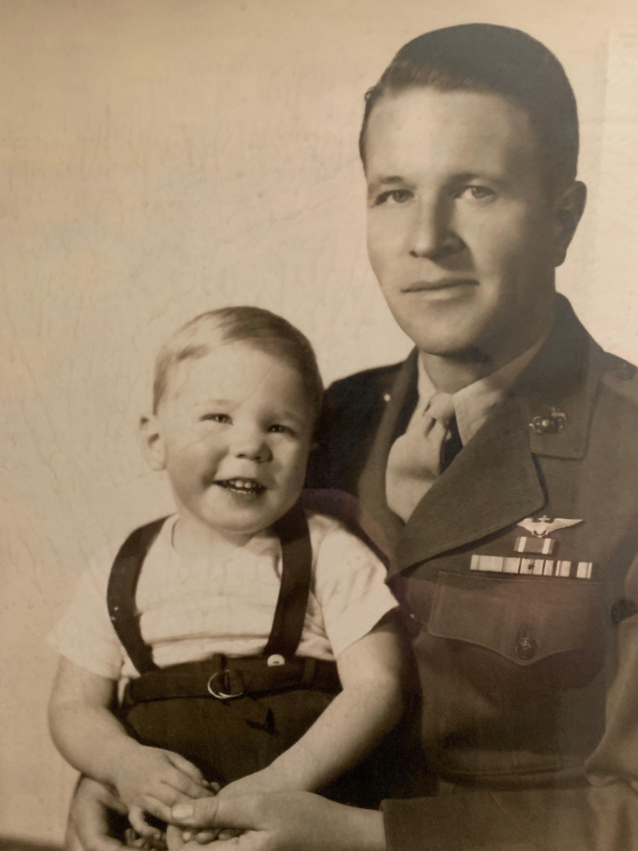 "My Grandfather Col. Edward ""Eb"" Ford Knight USMCR with my father near the end of World War II."