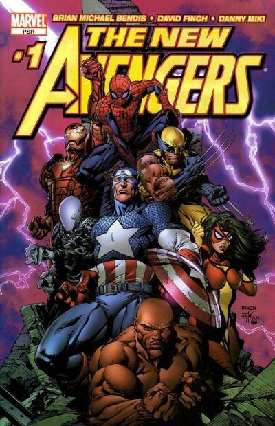 The New Avengers (clockwise from top): Spider-Man, Wolverine, Spider-Woman, Luke Cage, Captain America, Ronin, and Iron Man