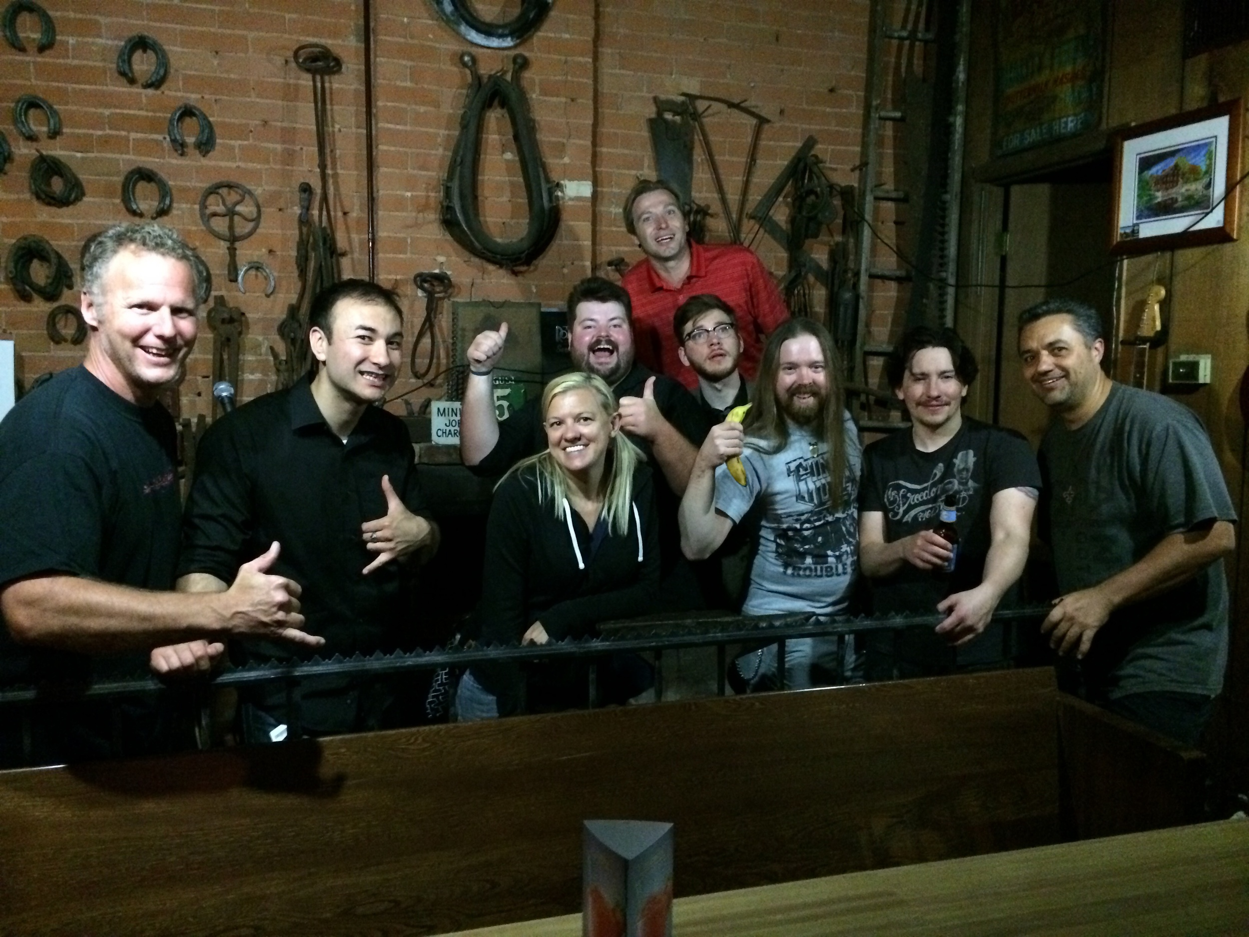 Hanging out with some great local comedians, and owner Wes