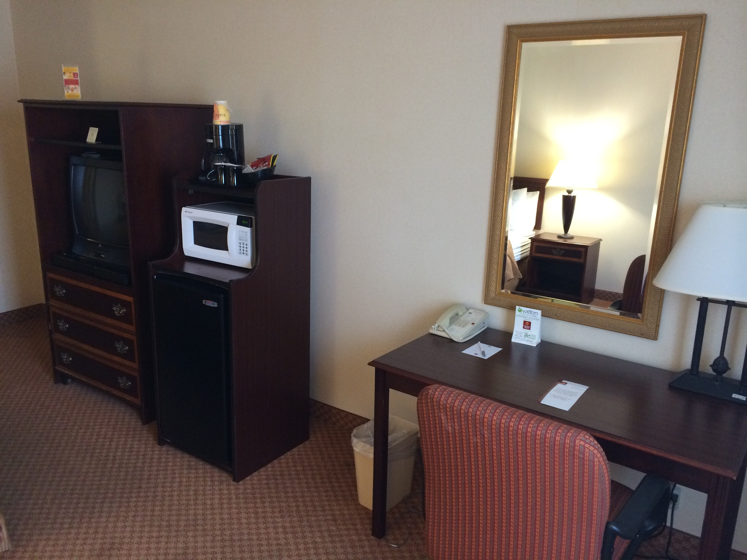 Requirements to make a hotel seem like home: fridge, microwave and coffee pot!