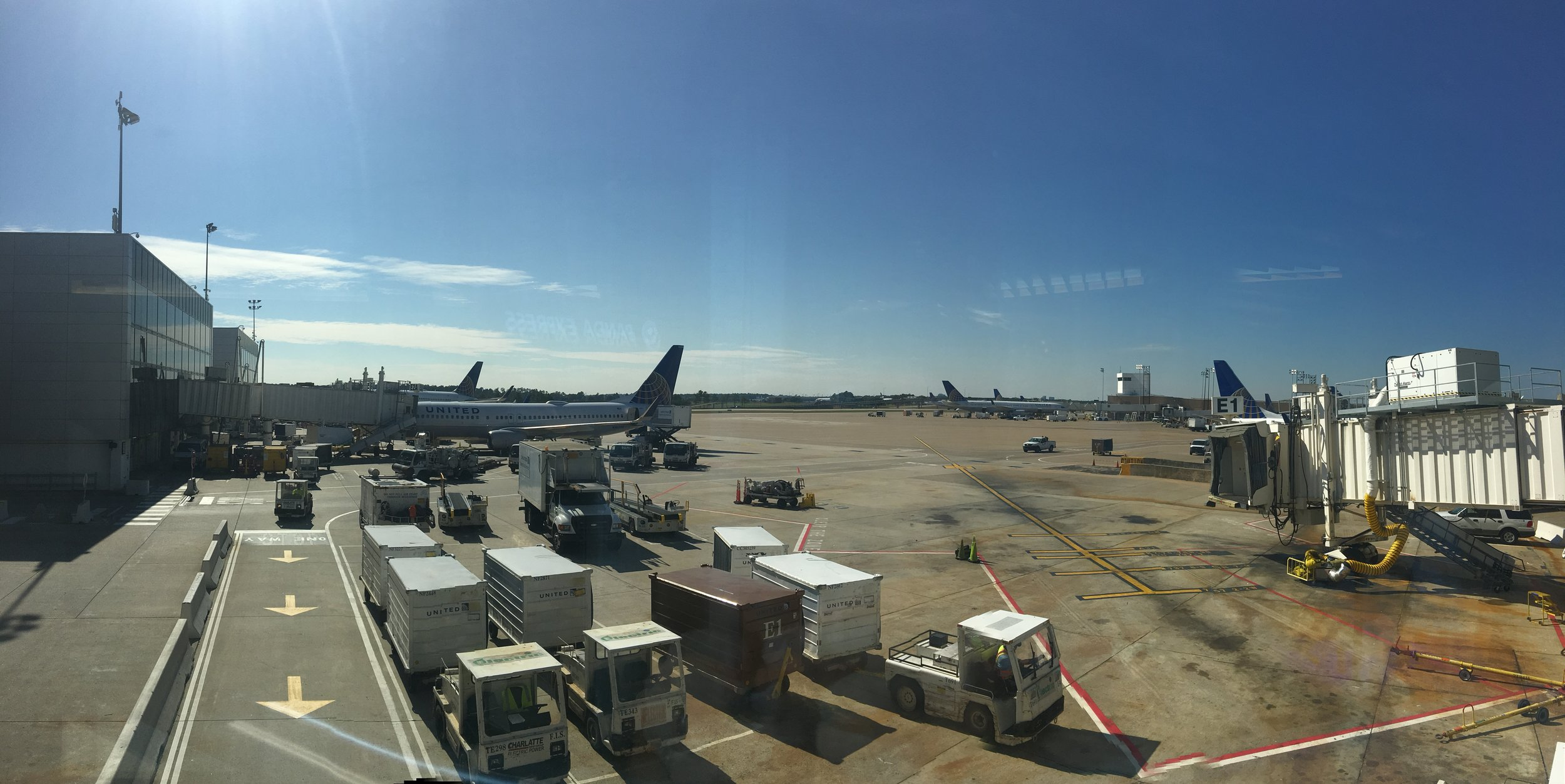 International flight section of the airport. Lots of United planes going all over.