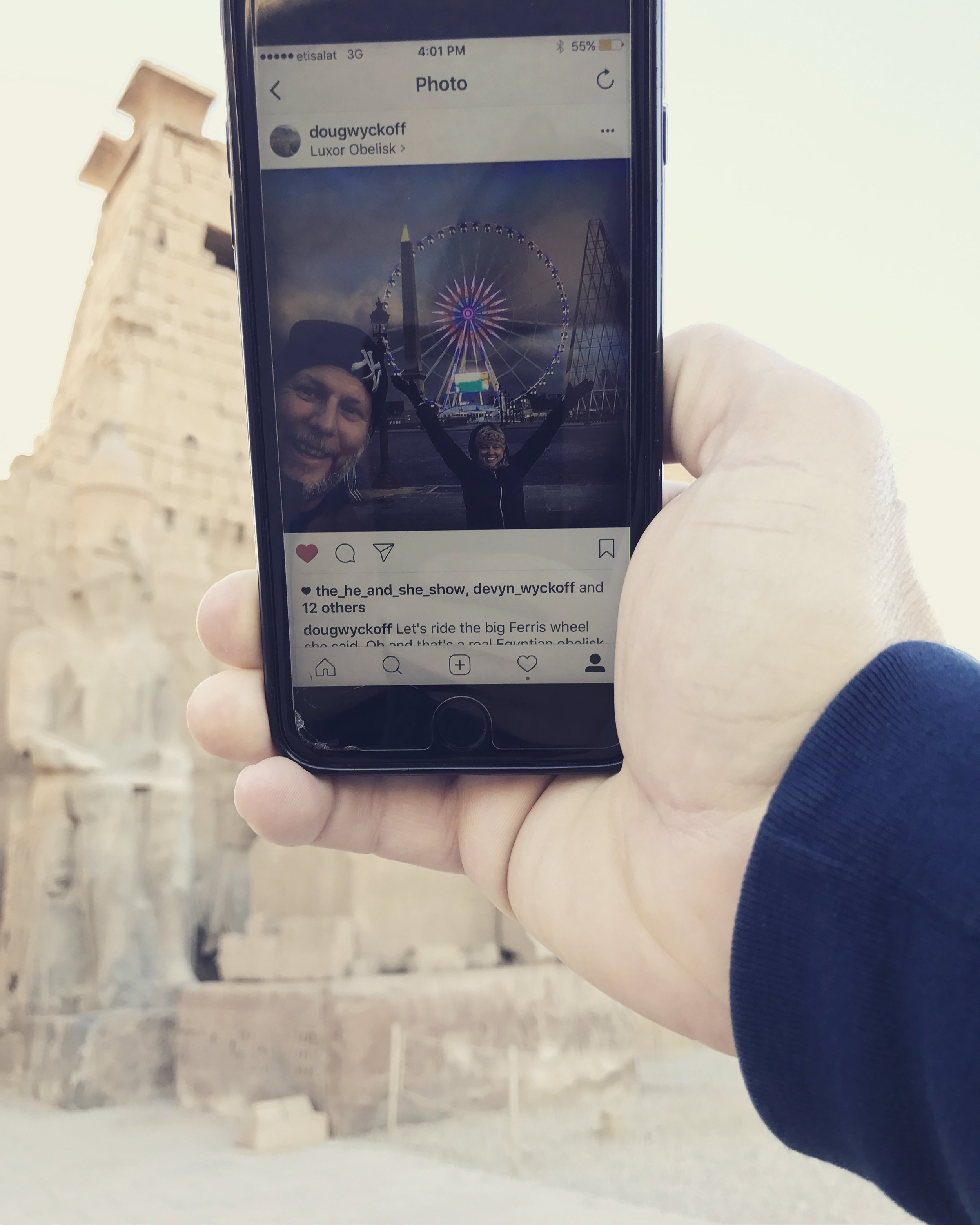 An instagram photo of us with an oblesik in France (which was originally taken from Egypt), posing from the spot in Egypt where they took it from.