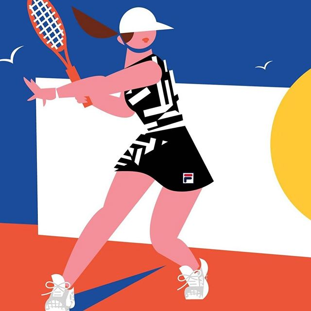 So happy to share this awesome project I worked on with @filausa! 🎾  FILA's original creative director, Pierluigi Rolando, designed this never before seen, limited edition collection that was found in his sketchbook after he passed away. I loved illustrating this graphic look worn by the amazing #AshleighBarty at the #FrenchOpen 🇫🇷 I used the blue sky, the white fencing, and the red, clay court to represent the French flag. 🎾Thank you to the amazing Art Department at FILA who helped me get Ash's signature stance just right! 🎾check out FILA.com to see the entire collection!