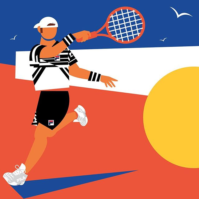 🎾 @dieschwartzman for @filausa  FILA's original CD, Pierluigi Rolando designed this amazing collection that was discovered in his sketchbook after he passed away. I love the graphic quality of this design worn by Diego Schwartzman at the French Open. I used the blue sky, white fencing, and the red, clay court to loosely represent the French flag 🇫🇷. Thank you so much to @filausa!