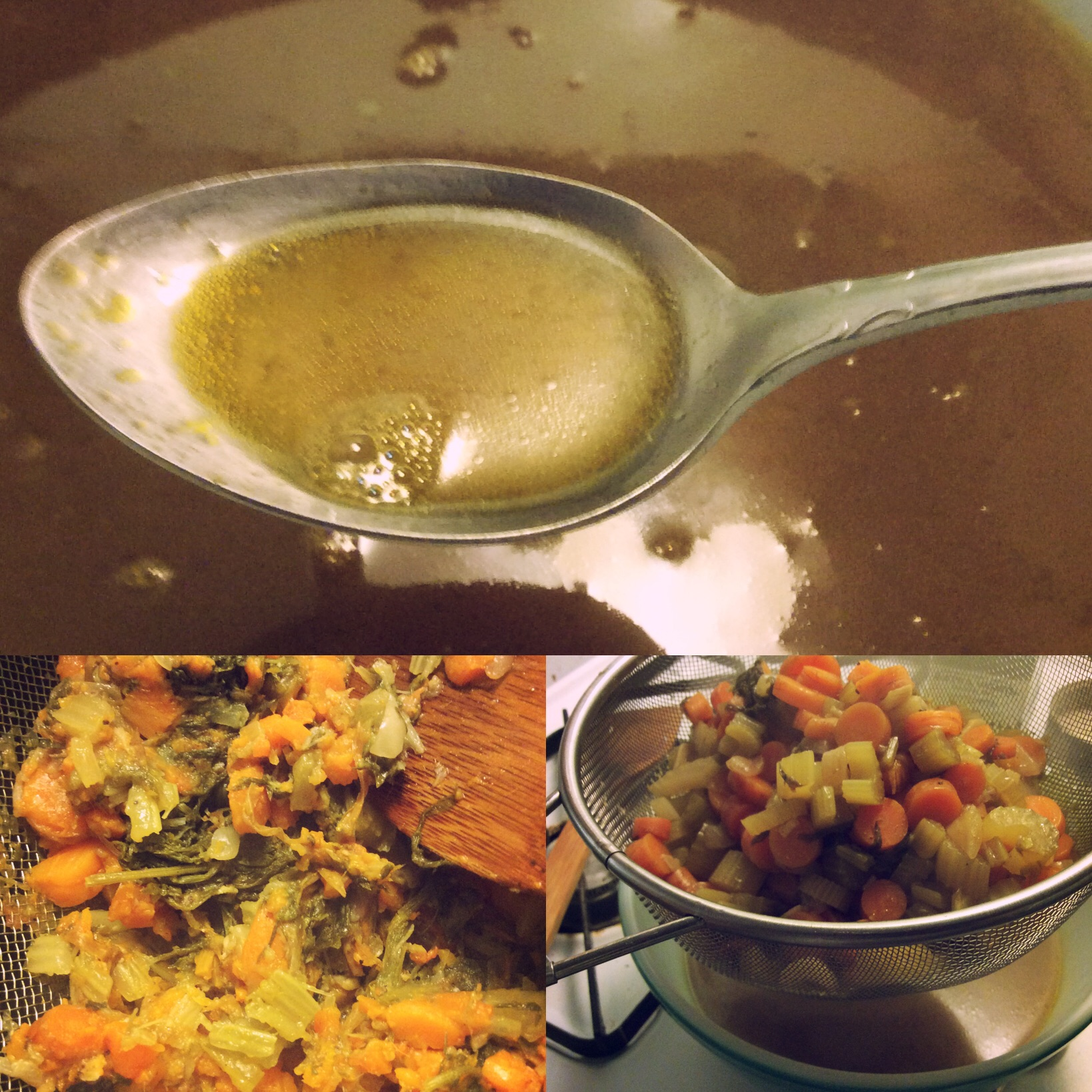 Clockwise from top: Brothy goodness, just starting to strain, pressed veggies.