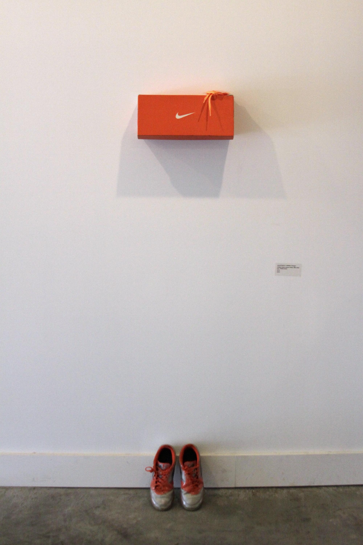 """Athletic Orange  adidas Indoor Soccer Shoes, Nike shoebox, adidas shoelaces 62"""" x 18"""" 2015"""