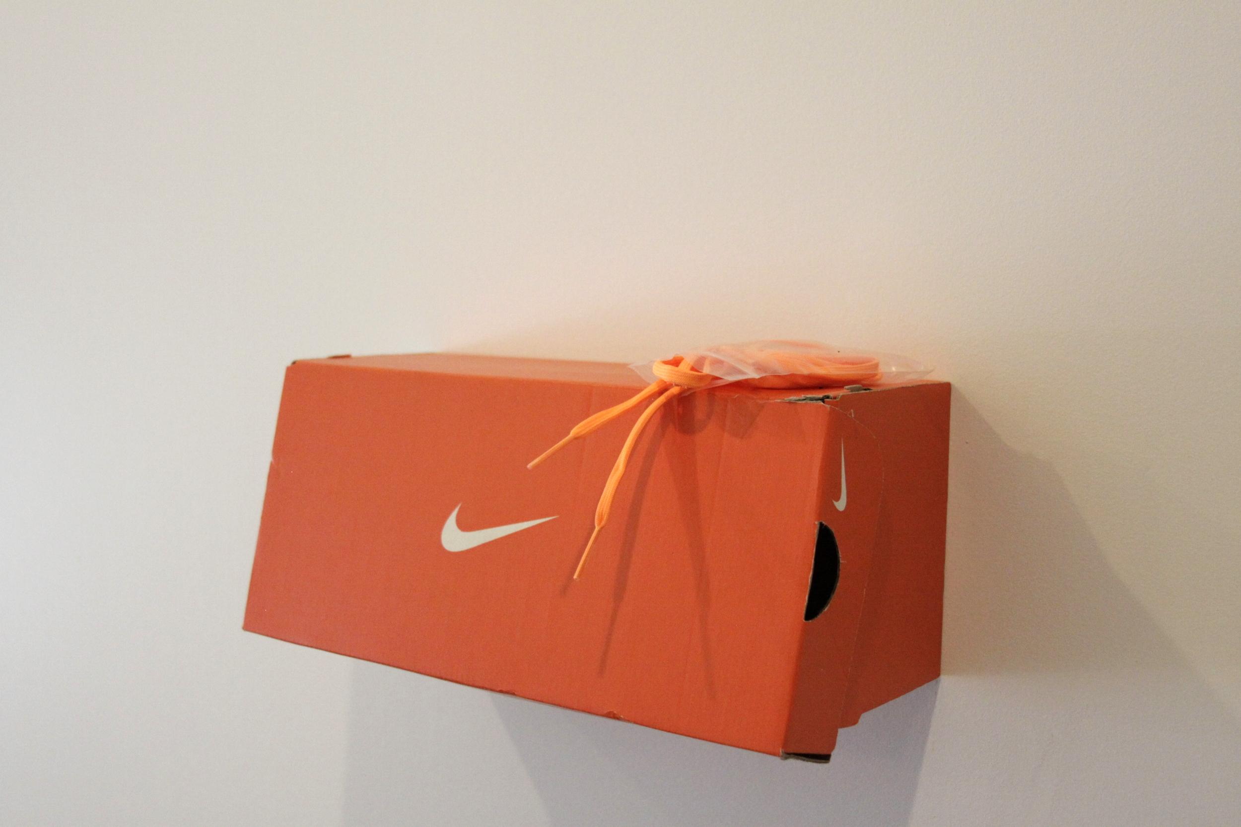 """detail  Athletic Orange  adidas Indoor Soccer Shoes, Nike shoebox, adidas shoelaces 62"""" x 18"""" 2015"""