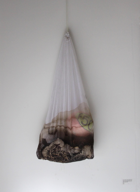 "WTO (World Trade Organization)  Mesh bag, Kroger Brand Premium Coffee, adidas soccerball, Nike socks, Nike soccer jersey, soccer penny, Puma soccerball 24"" x 48"" 2015"