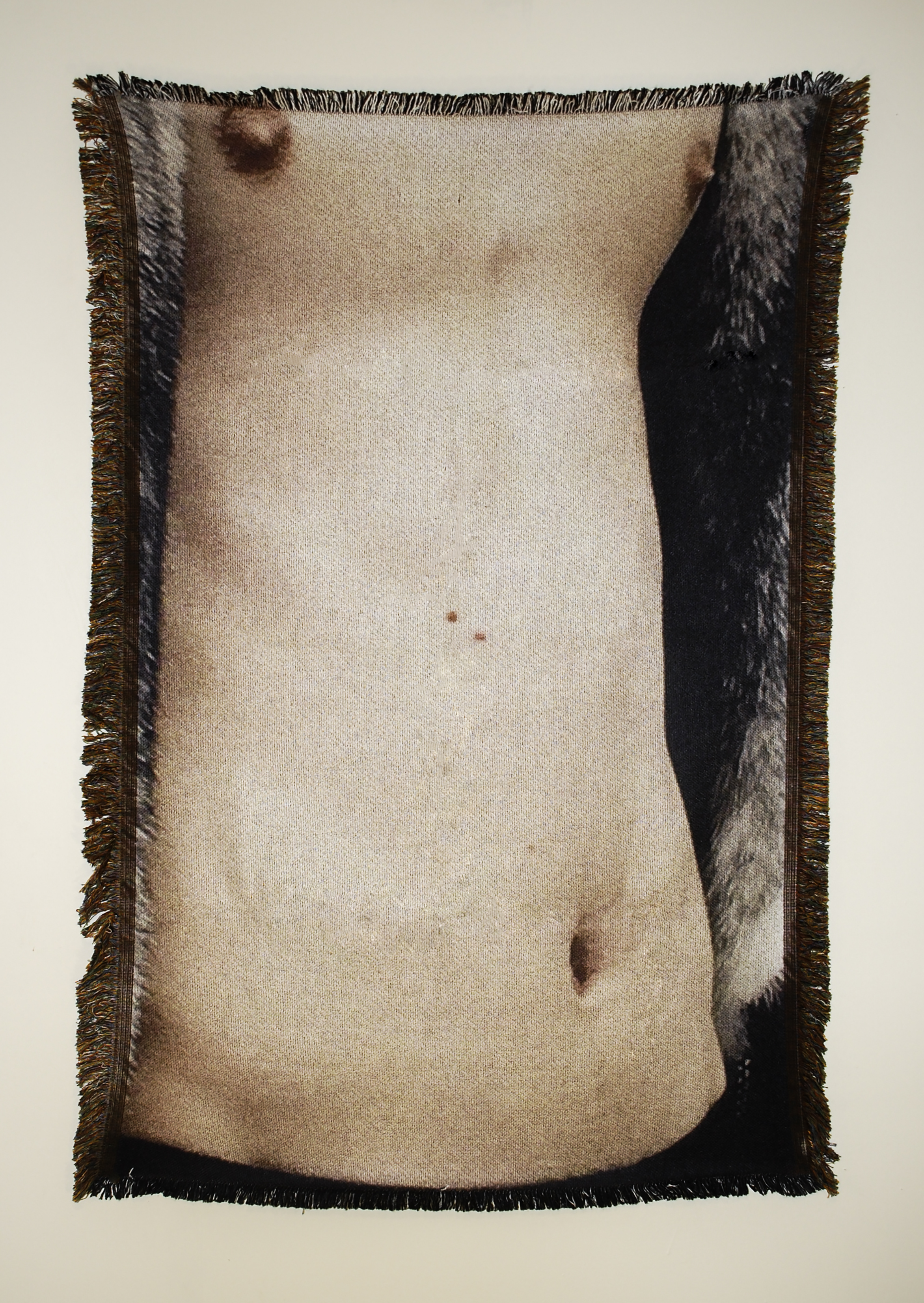 "Untitled (Cis-male 3)  54"" x 38"" photo-sublimated woven blanket"