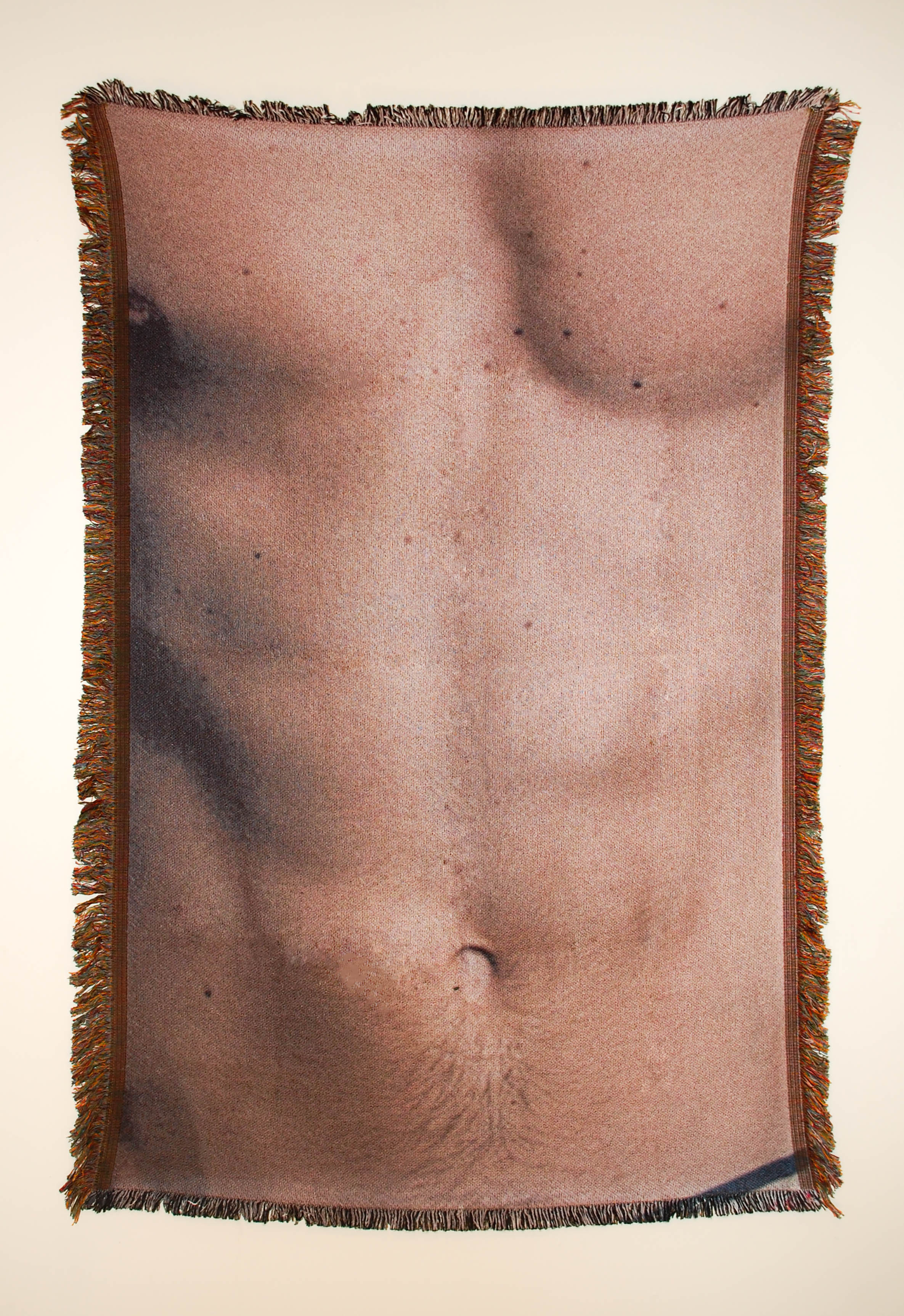"Untitled (Cis-male 5)  54"" x 38"" photo-sublimated woven blanket"