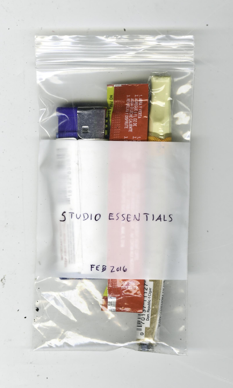 Studio Essentials. Feb 2016 , Cafe Bustelo instant coffee, Jazz Black & Mild, Rhianna lighter, bag, 2016