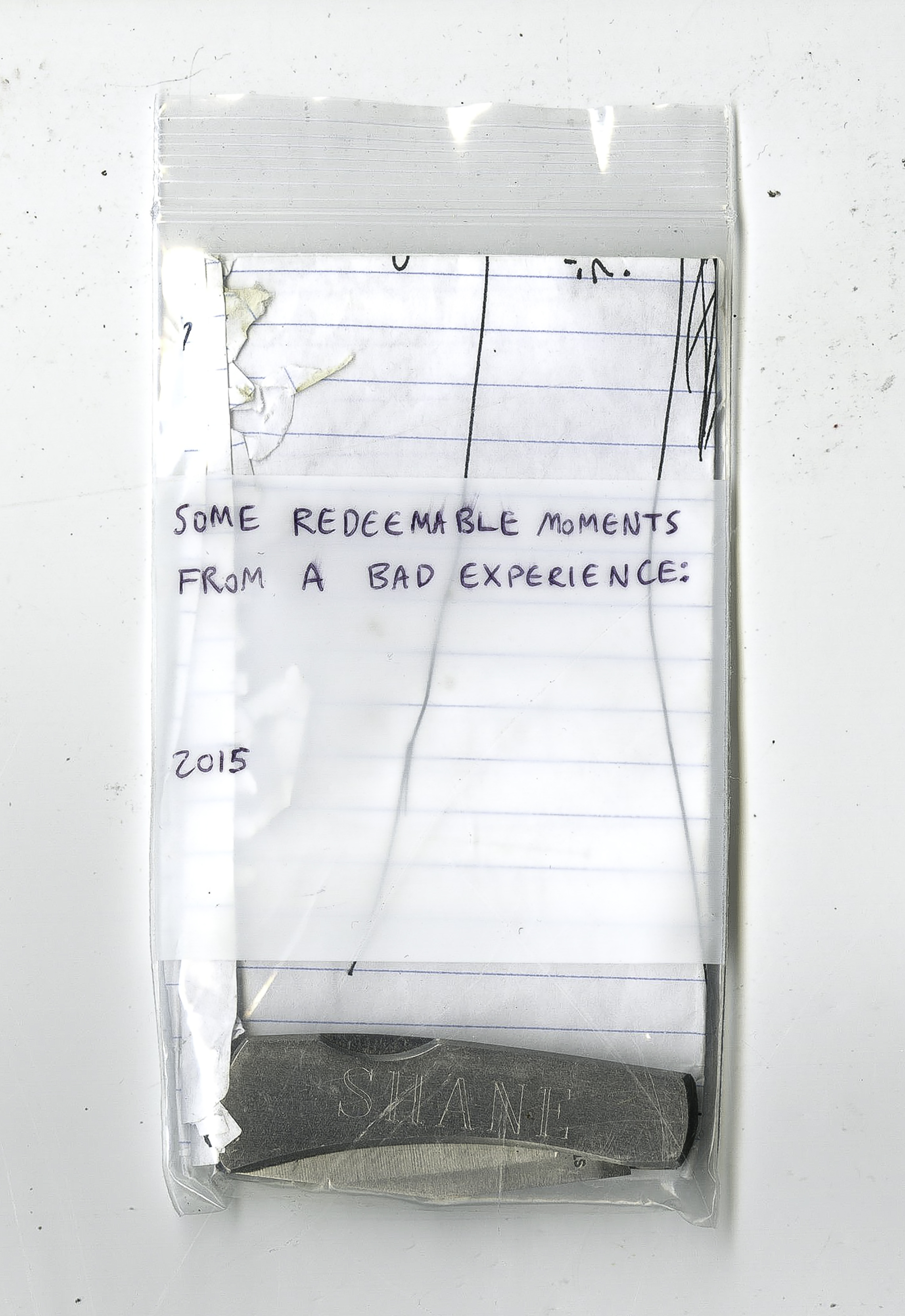 """Some redeemable moments from a bad experience: 2015 , site-specific installation instructions, """"SHANE"""" pocket knife, """"hot"""" item from shower curtain, bag, 2016"""