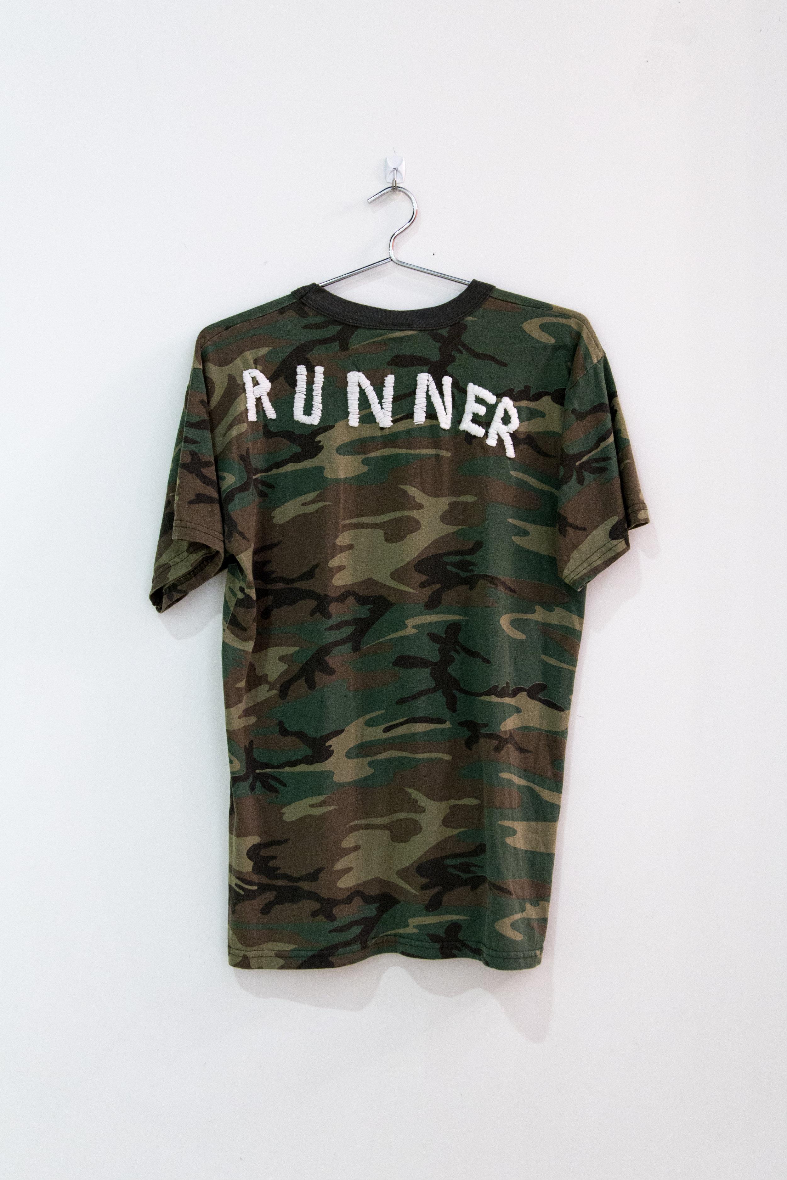 "Runner, 2017, embroidered t-shirt, 18"" x 24"""