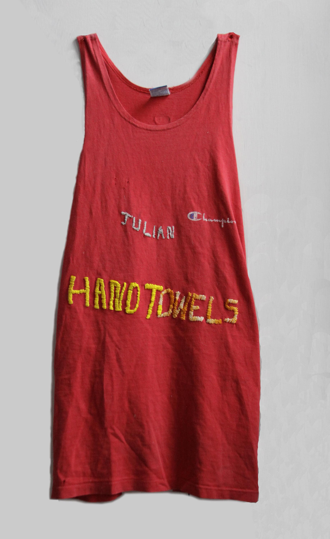 "Julian Handtowels, 2017, embroidered Champion tank top, 10"" x 24"""