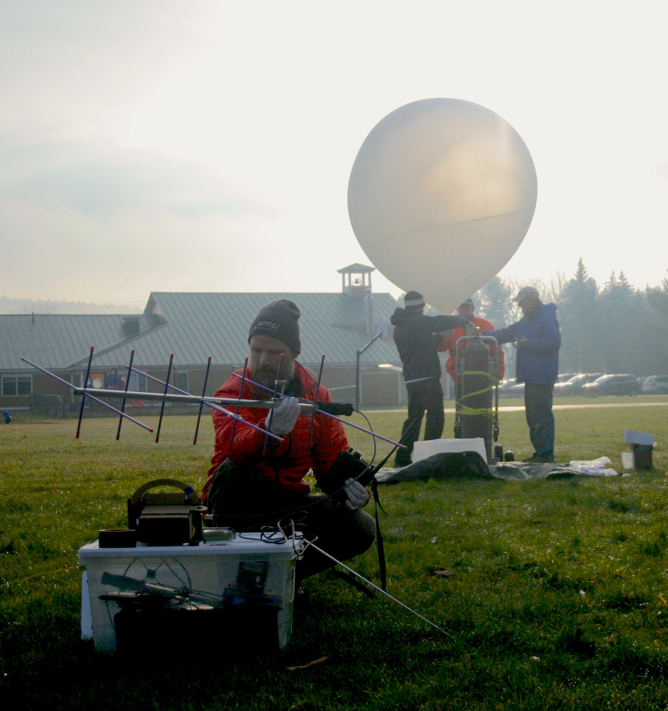 Conducting pre-flight radio tests.