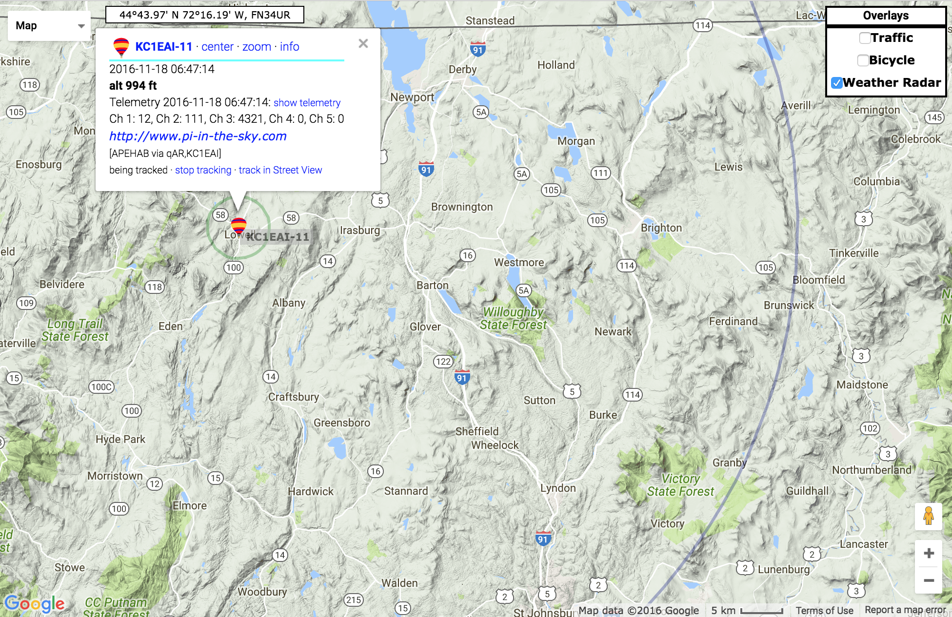 Image from the website aprs.fi on the day of our launch.  We intended on using this website to display our balloon flight path across the region from Vermont to New Hampshire.