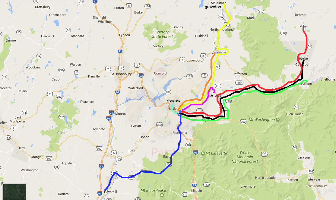 Each route color represents a school we've visited once or multiple times in the past month.
