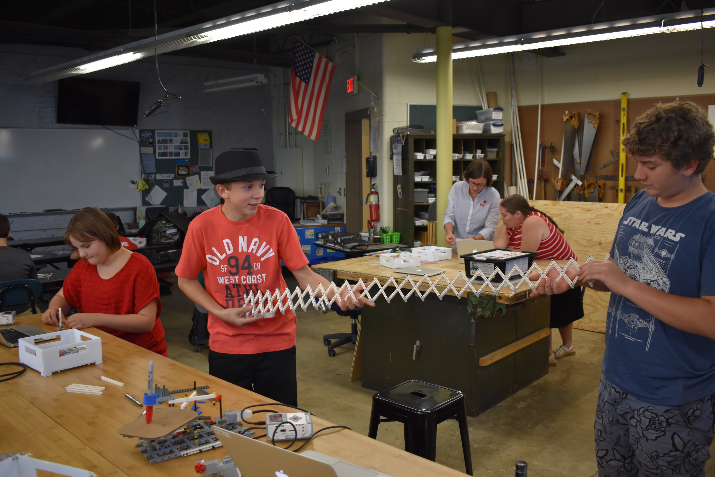 """After building a massive scissor arm, these students tried to answer the age old question of """"how far will this stretch??"""""""