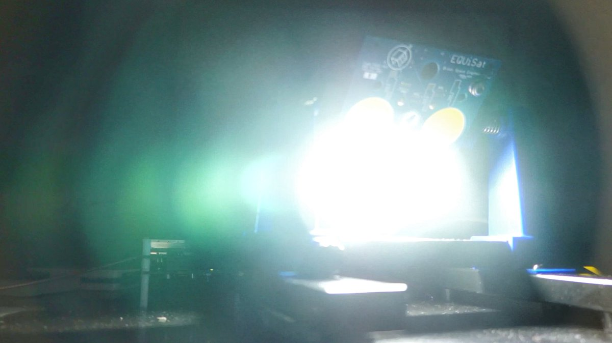 EQUiSat flashing two of its four LEDs