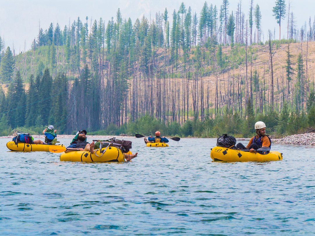 A week long self-supported trip along the South Fork of the Flathead River. Three days of up-stream hiking set the stage for four days of floating back to the trailhead with the unexpected twist of needing to escape a rapidly growing wildfire by foot.