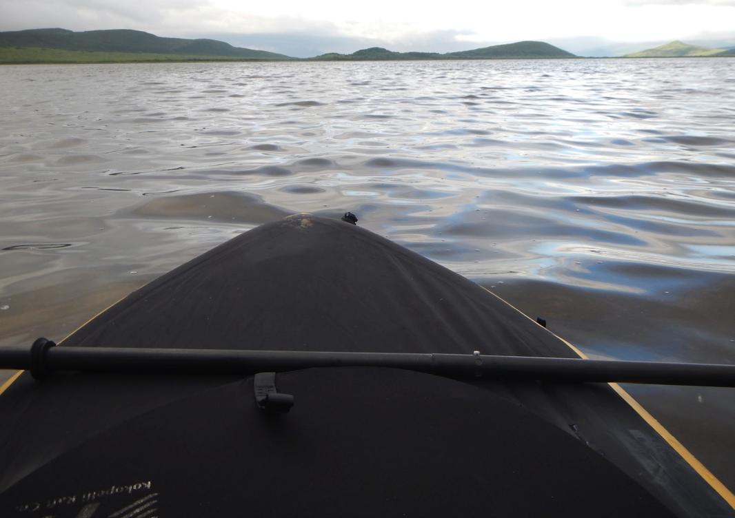 Shoving off the shores of Meshik Lake.