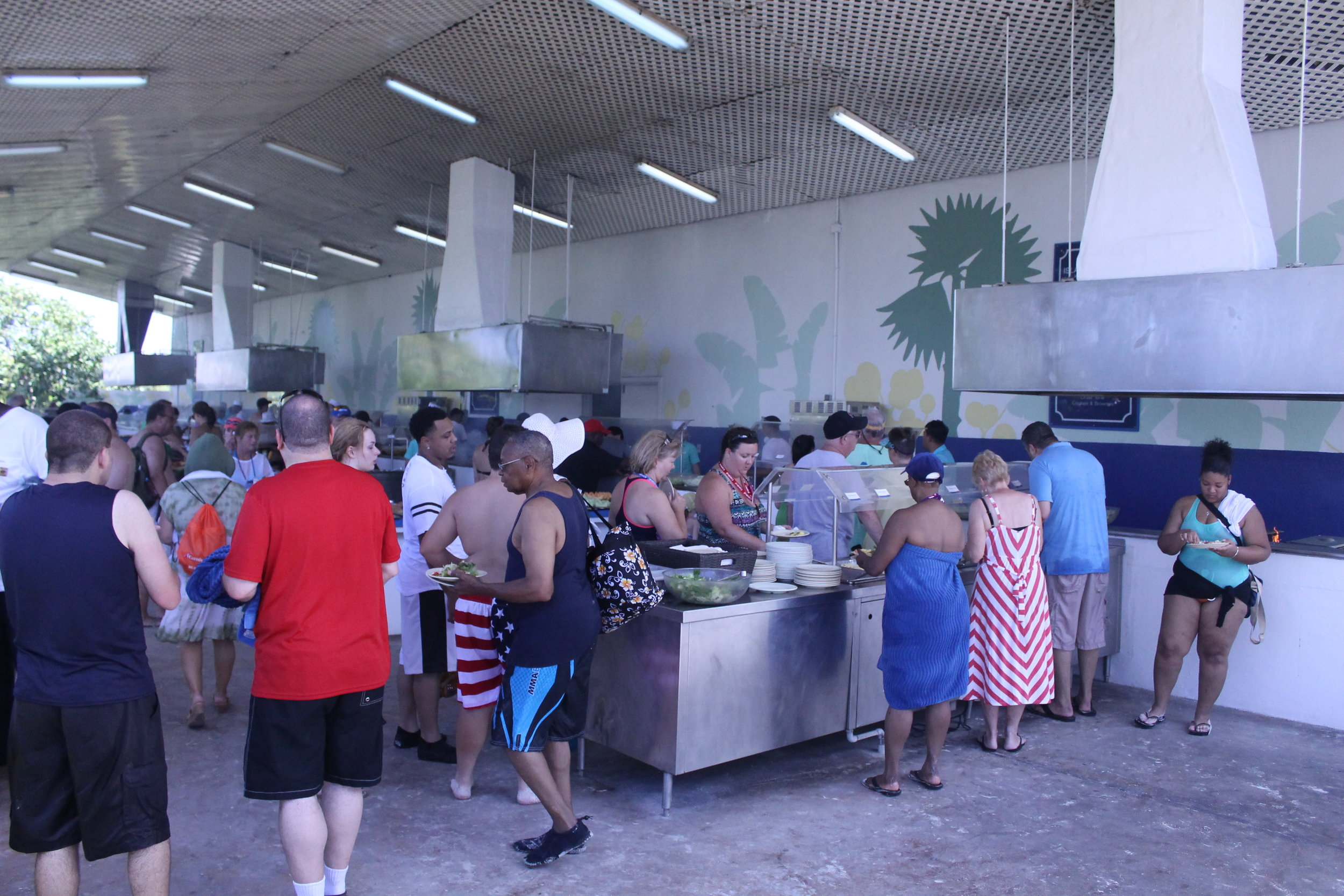 BBQ Lunch Buffet Line on Half Moon Cay, Bahamas