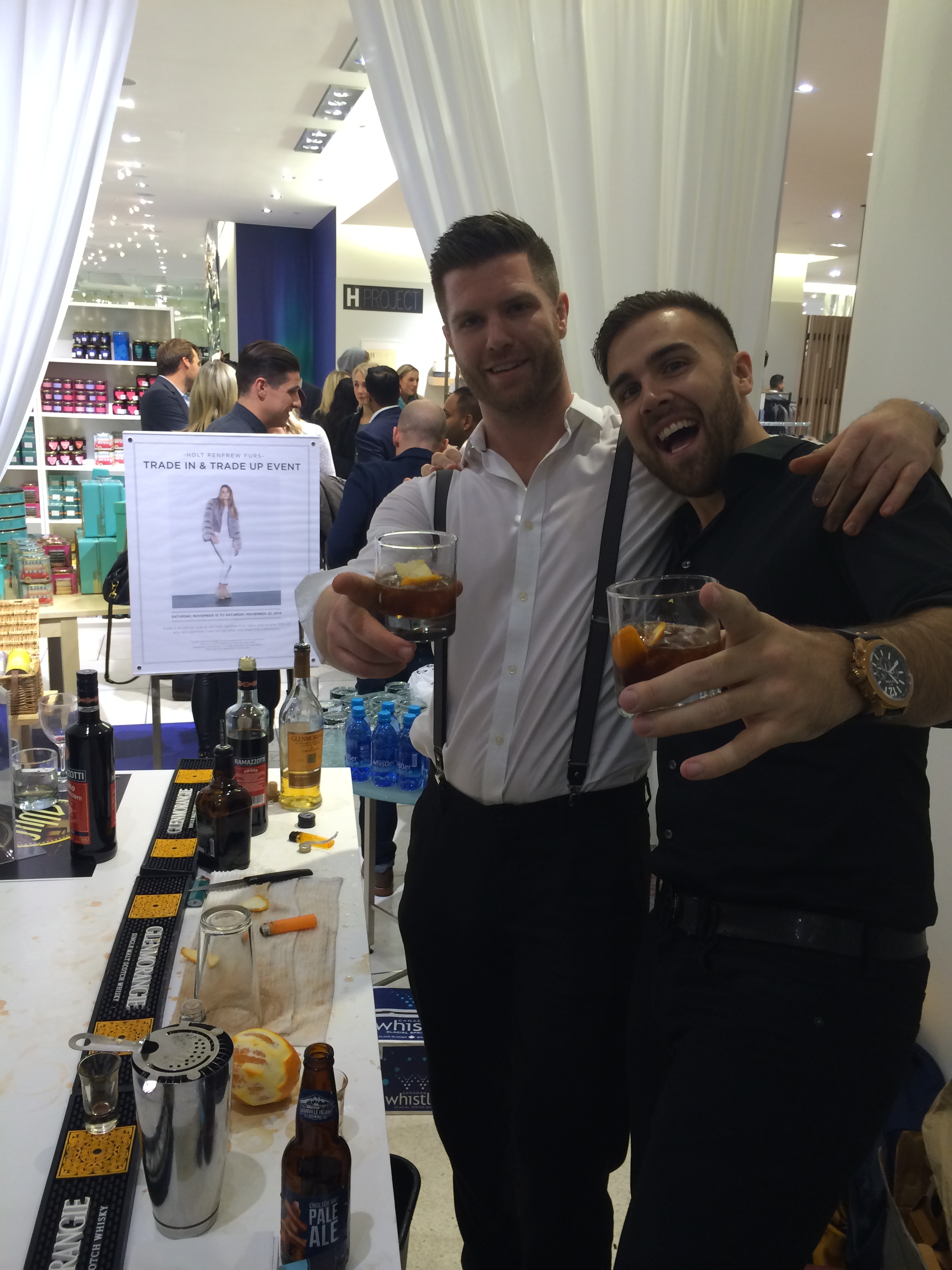 Jeff McKinnon & Nick Harborne celebrating a job well done after the party with a Wiseman